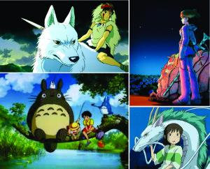 En orden de las manecillas del reloj: La Princesa Mononoke, Nausicaä del Valle del Viento, El Viaje de Chihiro, Mi Vecino Totoro
